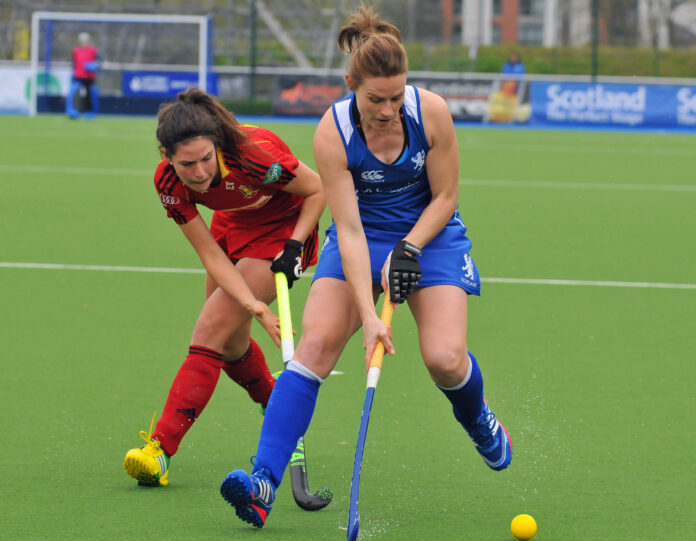 Scotland Ailsa Wyllie in action against Belgium in the Women's Champions Challenge Photo Credit Duncan Gray.jpg