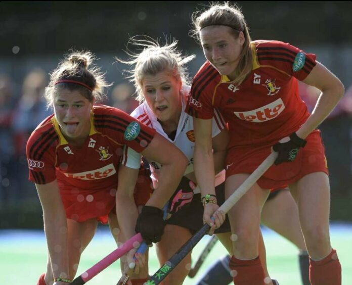 Twiggy in the middle against Belgium (c) Ady Kerry