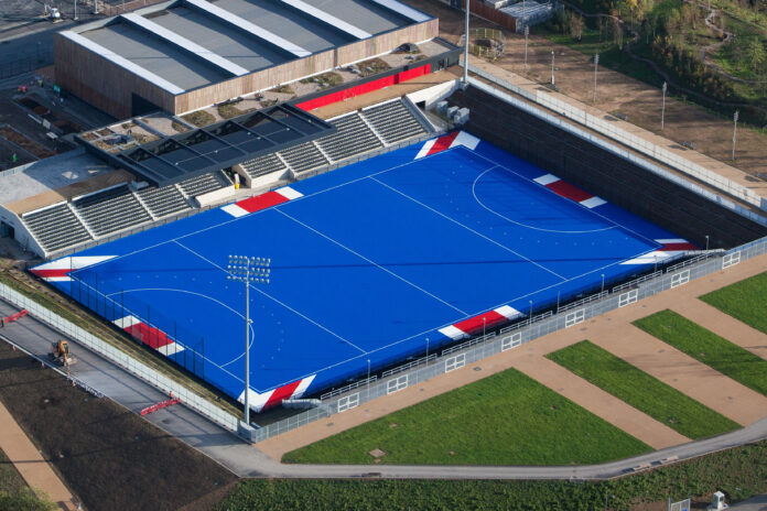 The Lee Valley hockey and tennis centre with its 'Union Jack' pitch