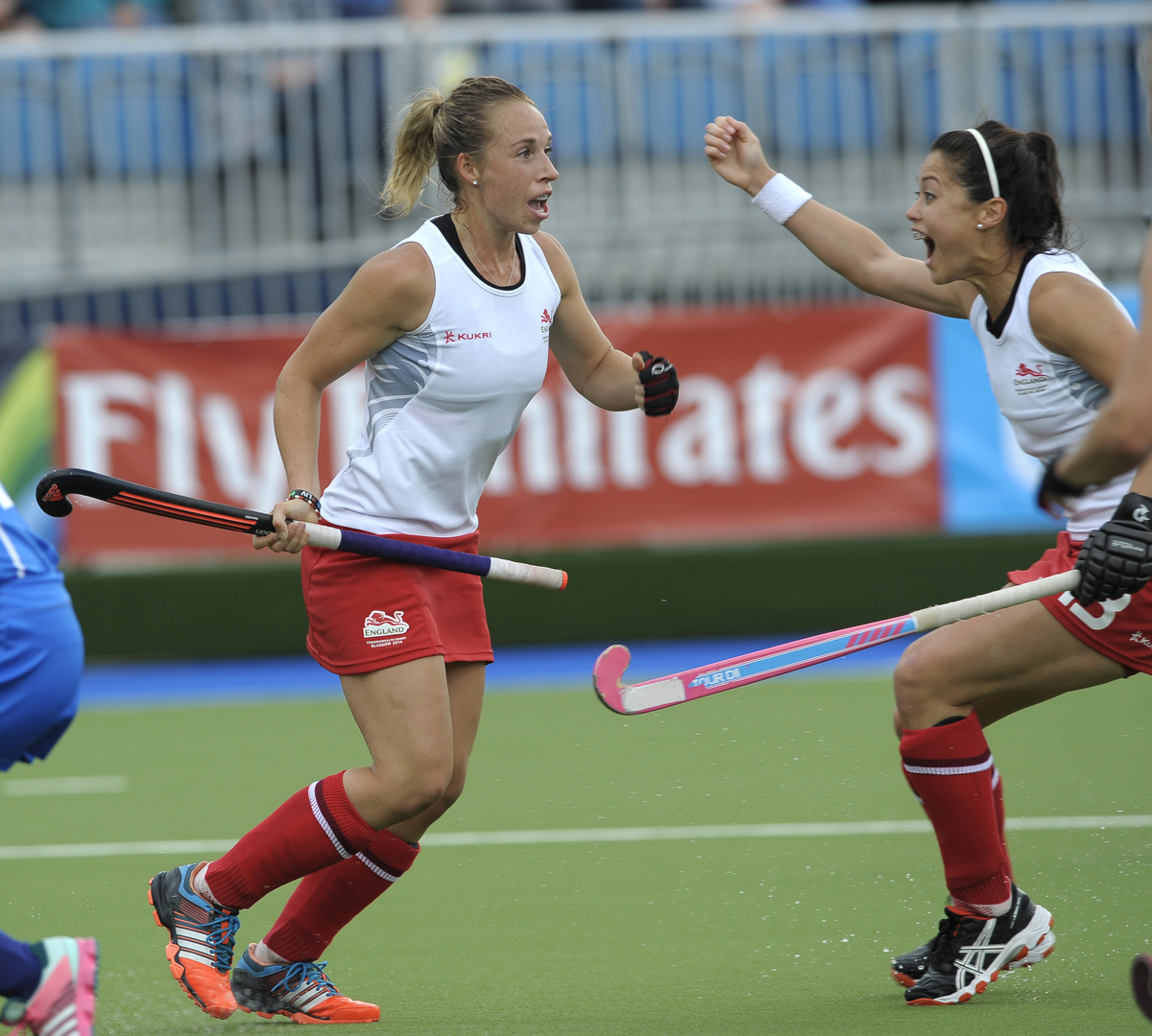 Susannah Townsend celebrates scoring the winning goal for England against Scotland during their pool game at the XX Commonwealth Games, Glasgow, 30th July 2014 - credit Ady Kerry.jpg