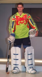 British Hockey goalkeeper Simon Mason at the launch of the specialist kit designed for the 1996 Olympics in Atlanta.