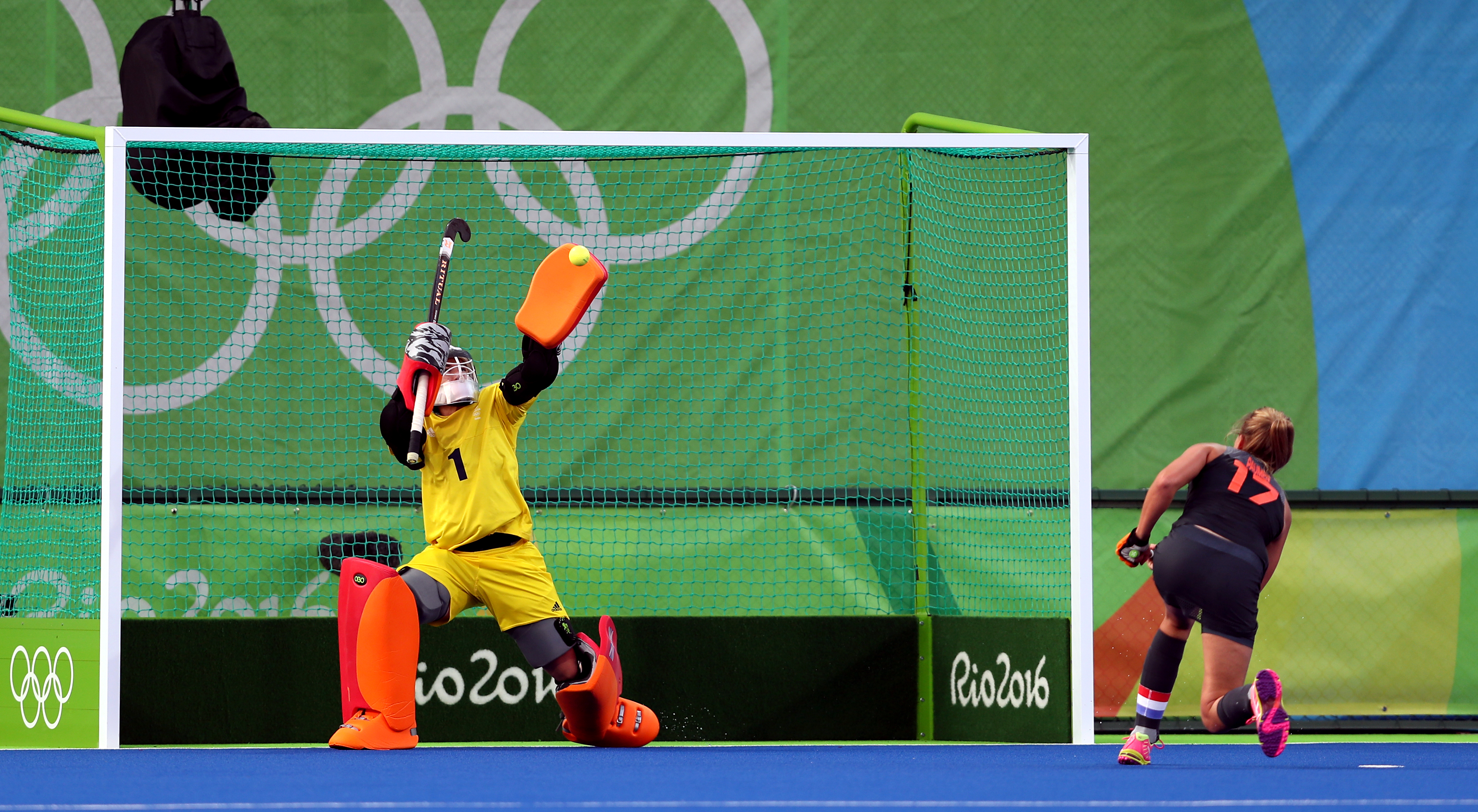Maddie Hinch saves a penalty from Netherlands' Maartje Paumen during the gold medal match in Rio