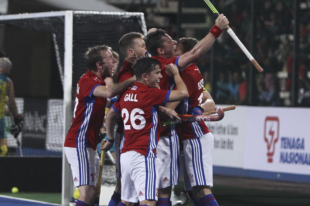 Great Britain hockey men celebrate